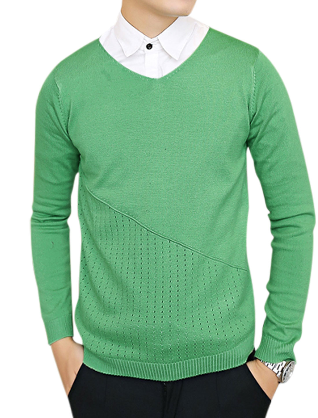 Pullover Long Sleeves Casual Green Sweater for Man S