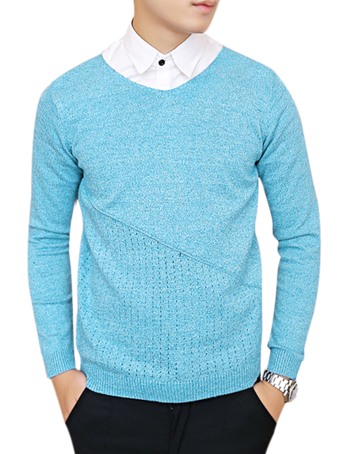 Man Long Sleeves Hollow Out Detail Chic Sky Blue Sweater S