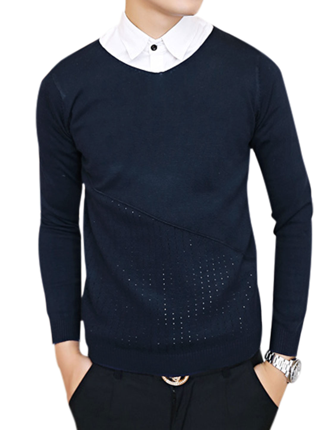 Man Fashion Long Sleeves Slipover Casual Dark Blue Sweater S