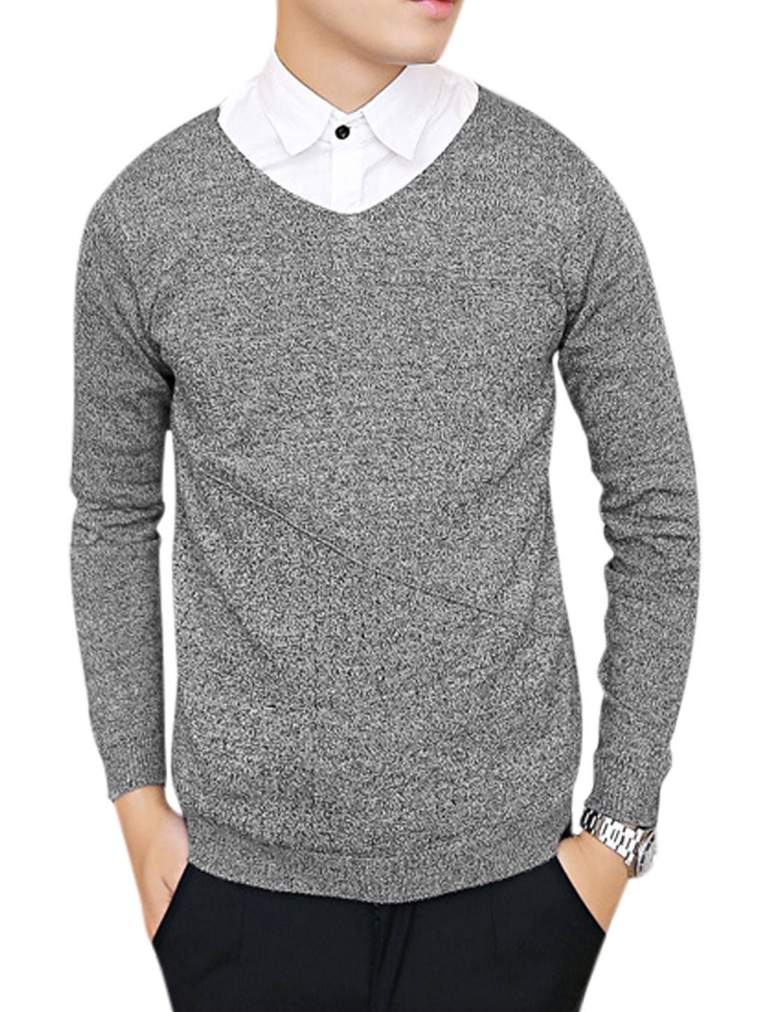 Fashion Slipover Long Sleeves Dark Gray Sweater for Man S