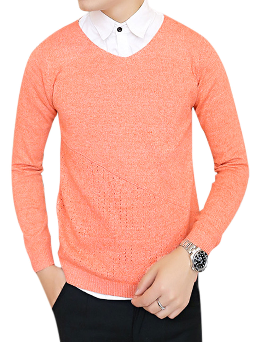 Casual Chic V Neck Slim Fit Orange Sweater for Man S