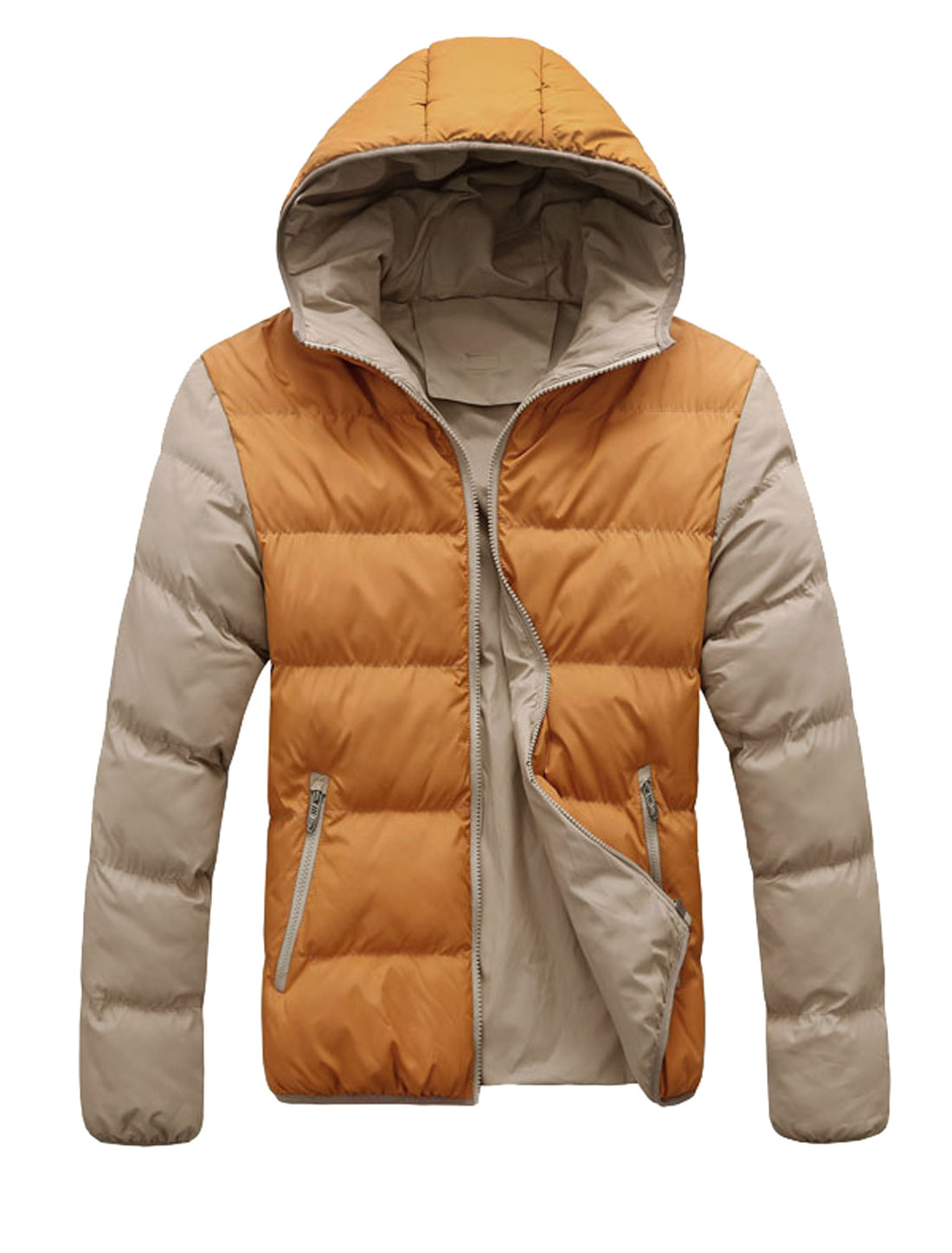Men Hooded Zip Closure Color Blocking Padded Coat Ochre Beige M