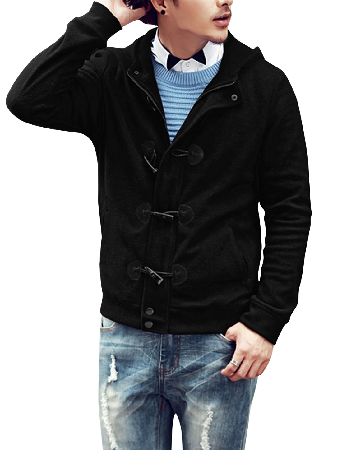 Men Fashion Toggle Buttons Closure Two Pockets Front Fleece Jacket Black M