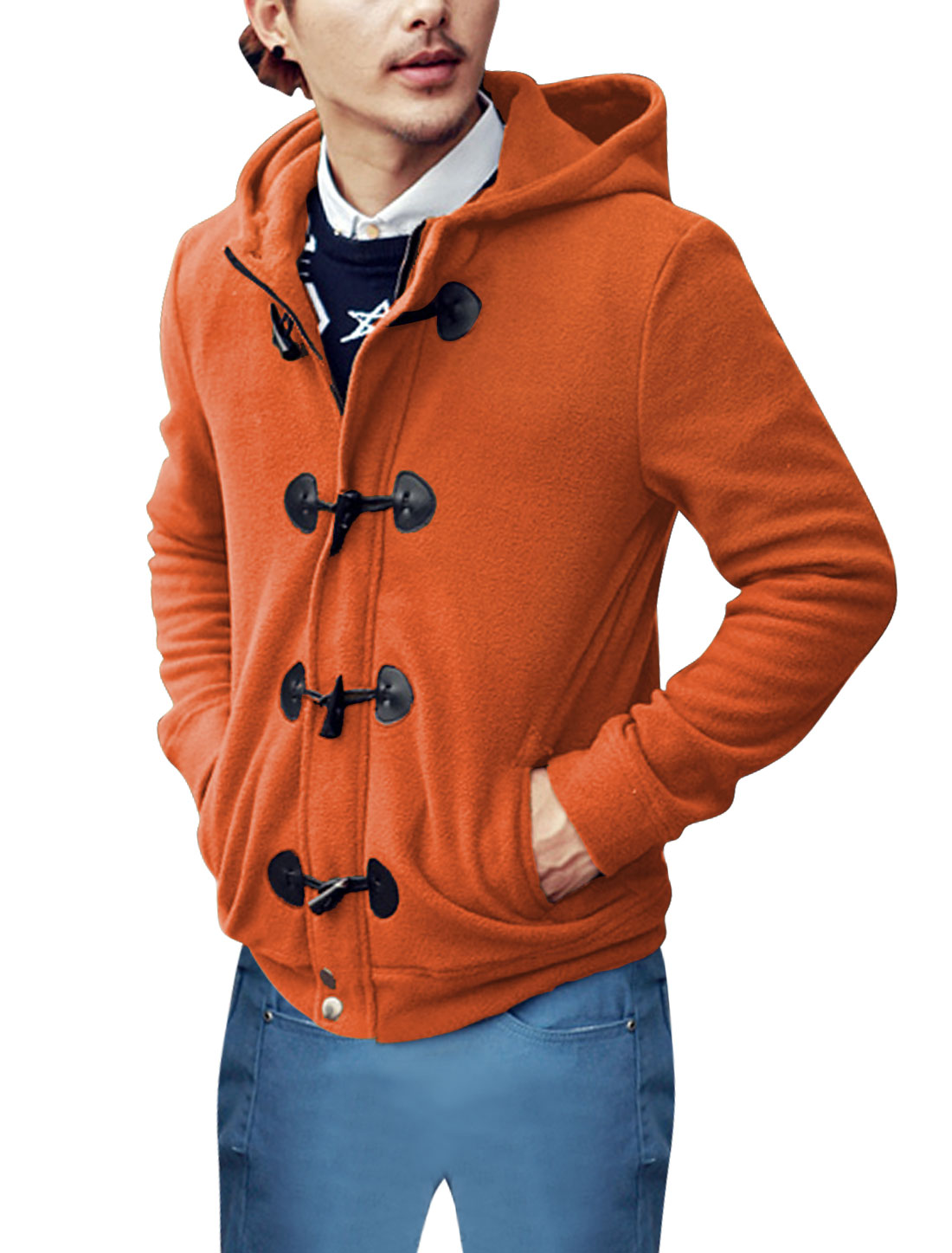 Men Fashion Toggle Buttons Closure Snap Buttons Closed Fleece Jacket Orange M