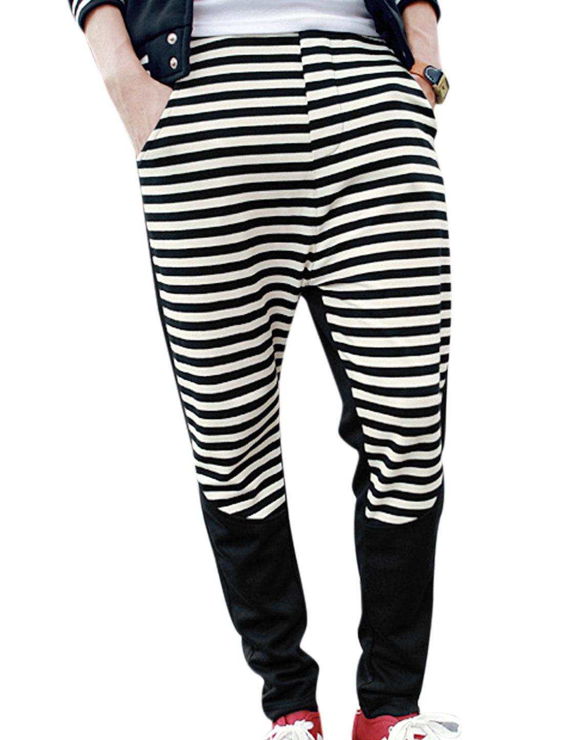 Men Fake Pockets Back Decor Stripes Panel Design Casual Pants Black W30