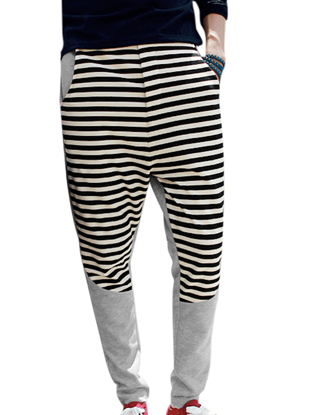 Men Elastic Waist w Drawstring Stripes Splicing Leisure Pants Gray W30