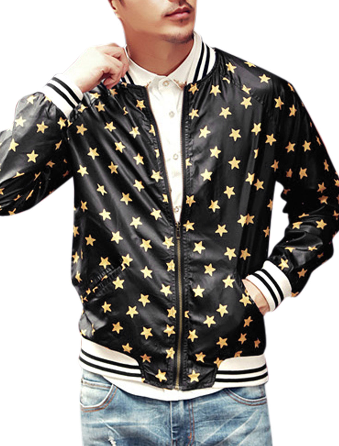 Men Stars Pattern Zip Up Front Pockets Casual Jacket Black Yellow S