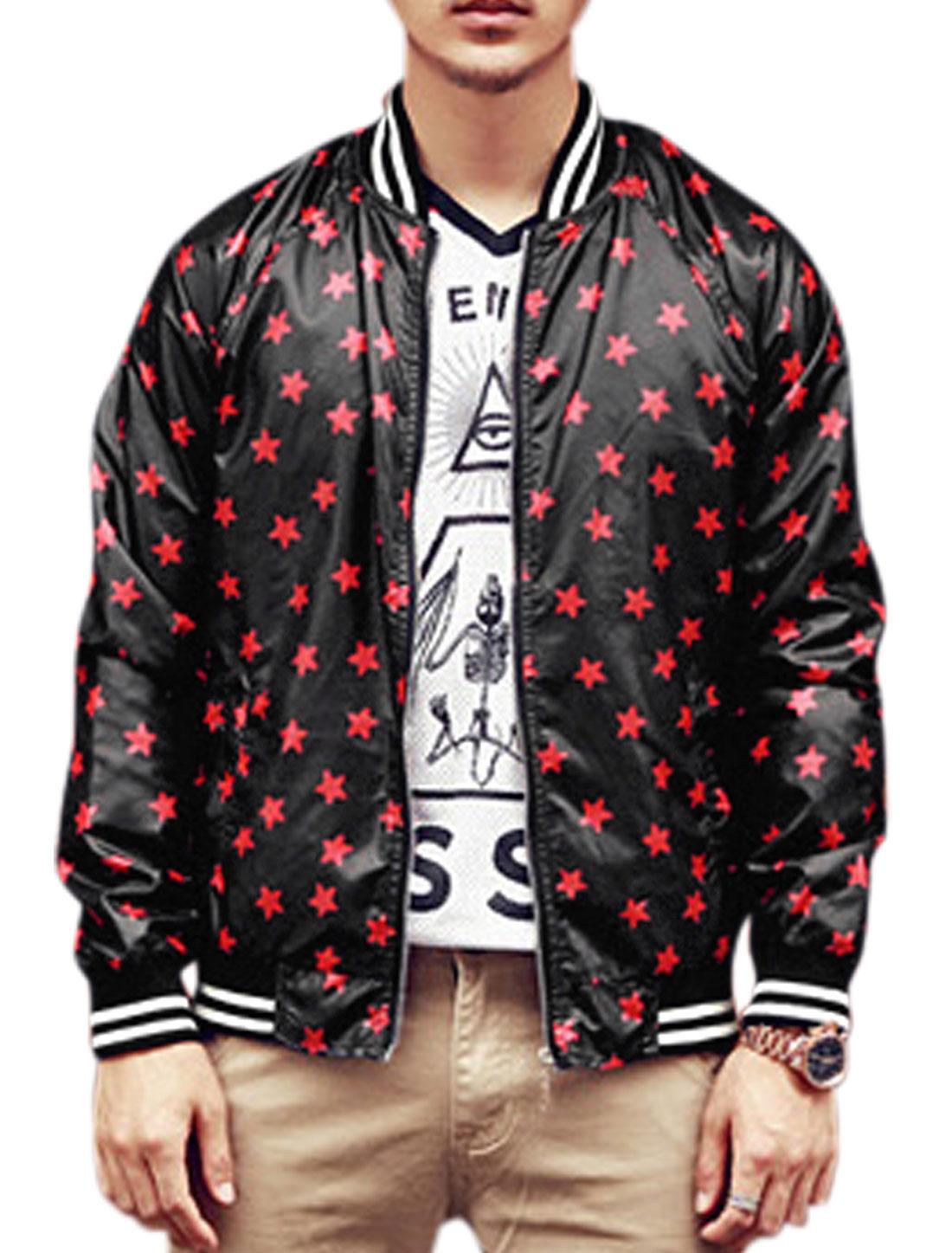 Men Stars Pattern Ribbed Trim Long Sleeve Leisure Jacket Drak Brown Red S