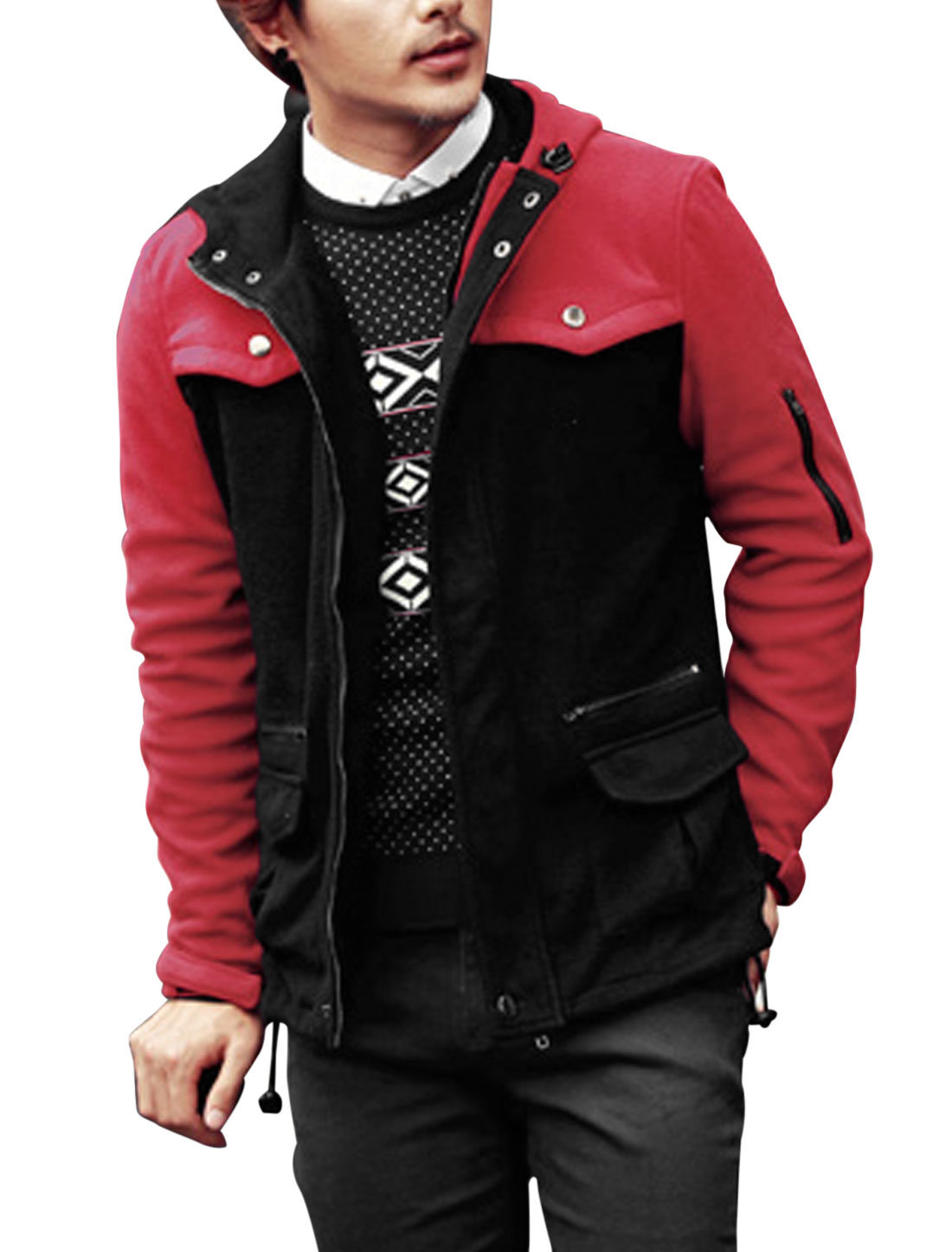 Men Hooded Drawcord Design Two Flap Pockets Casual Fleece Jacket Red Black M