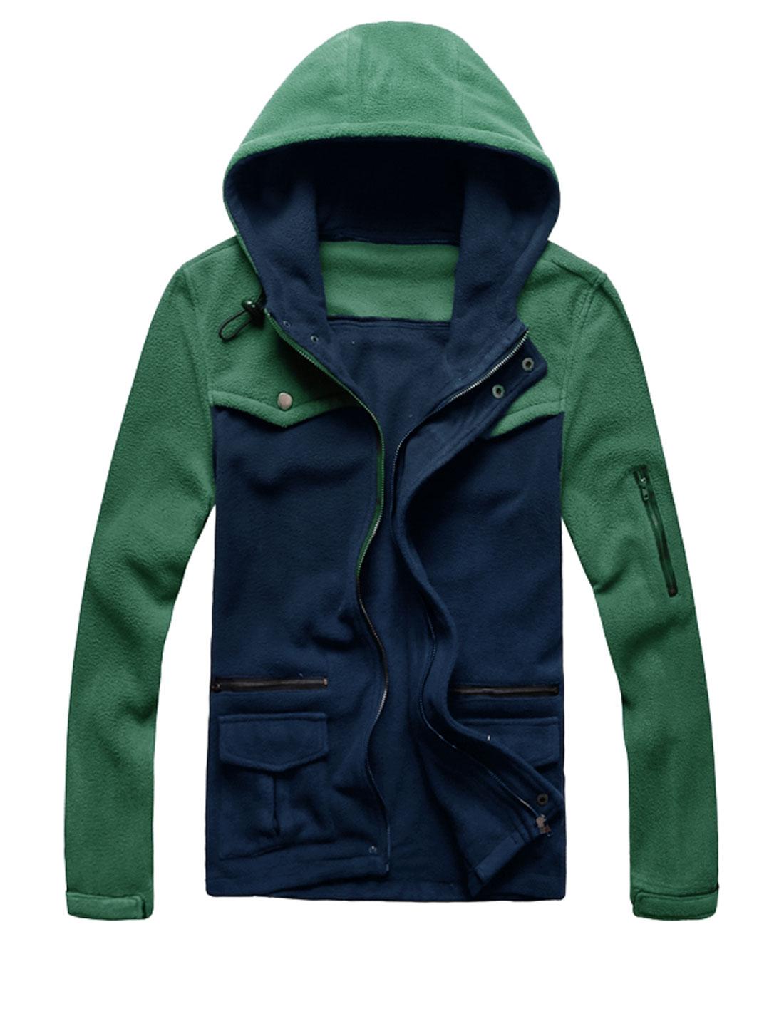 Men Hooded Drawcord Design Contrast Color Fleece Jacket Green Navy Blue M