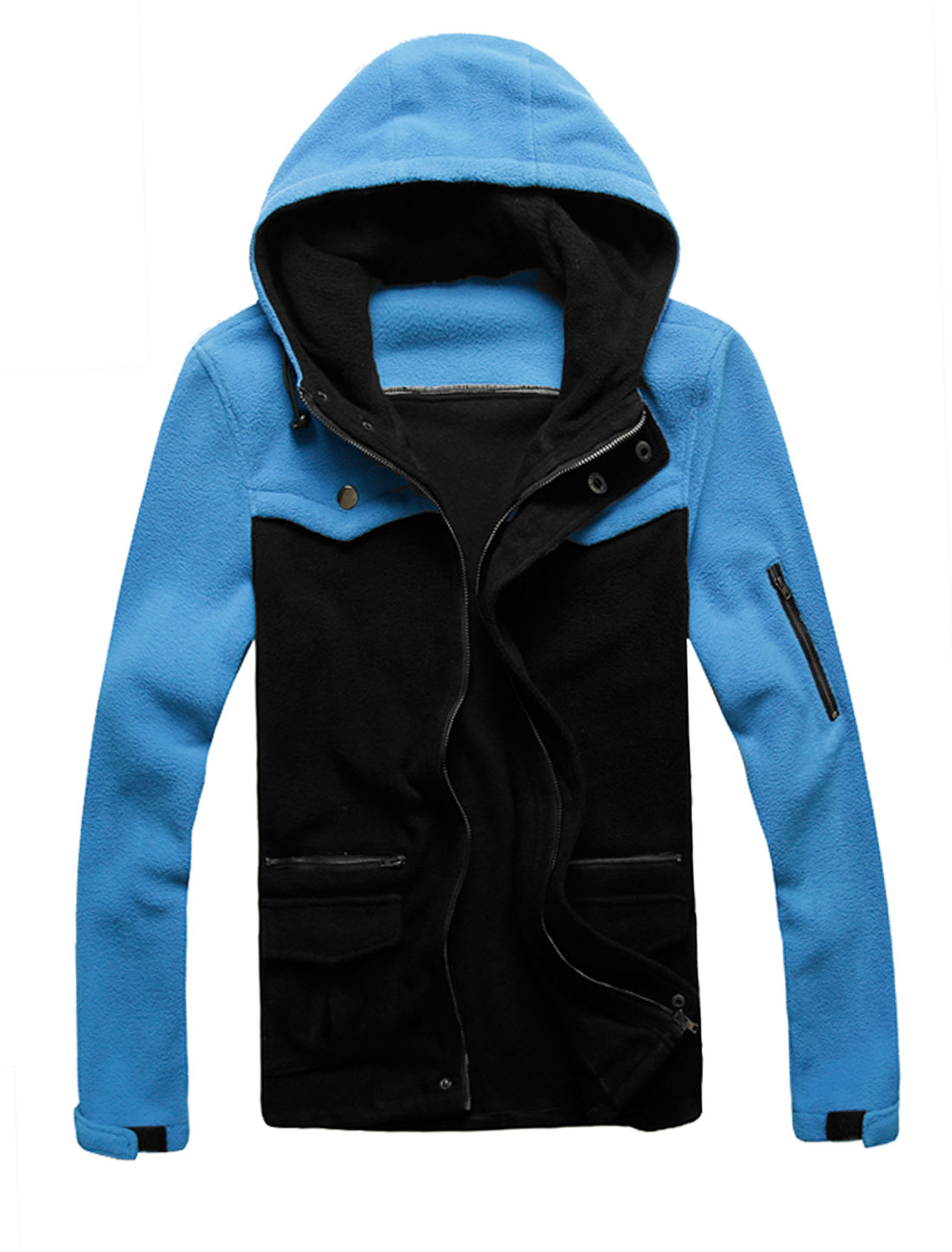 Men Zip-Up Pockets Decor Contrast Color Casual Fleece Jacket Blue Black M