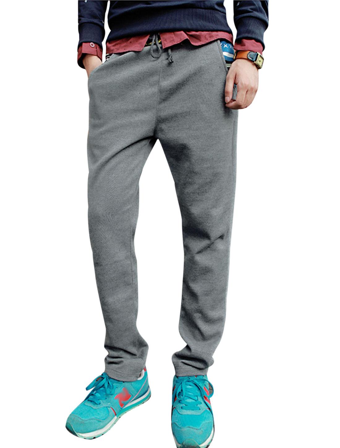 Men Striped-Waist w Single Pocket Back Relaxed Leisure Pants Gray W30