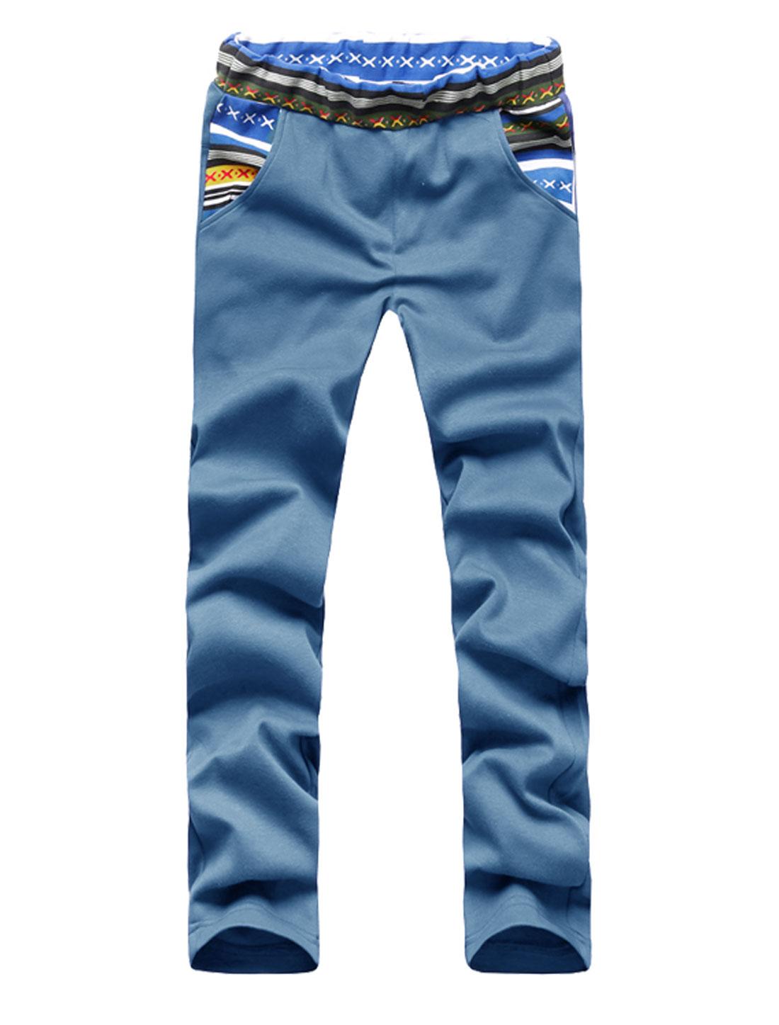 Men Elastic Waist Single Pocket Back Stylish Pants Turquoise W30
