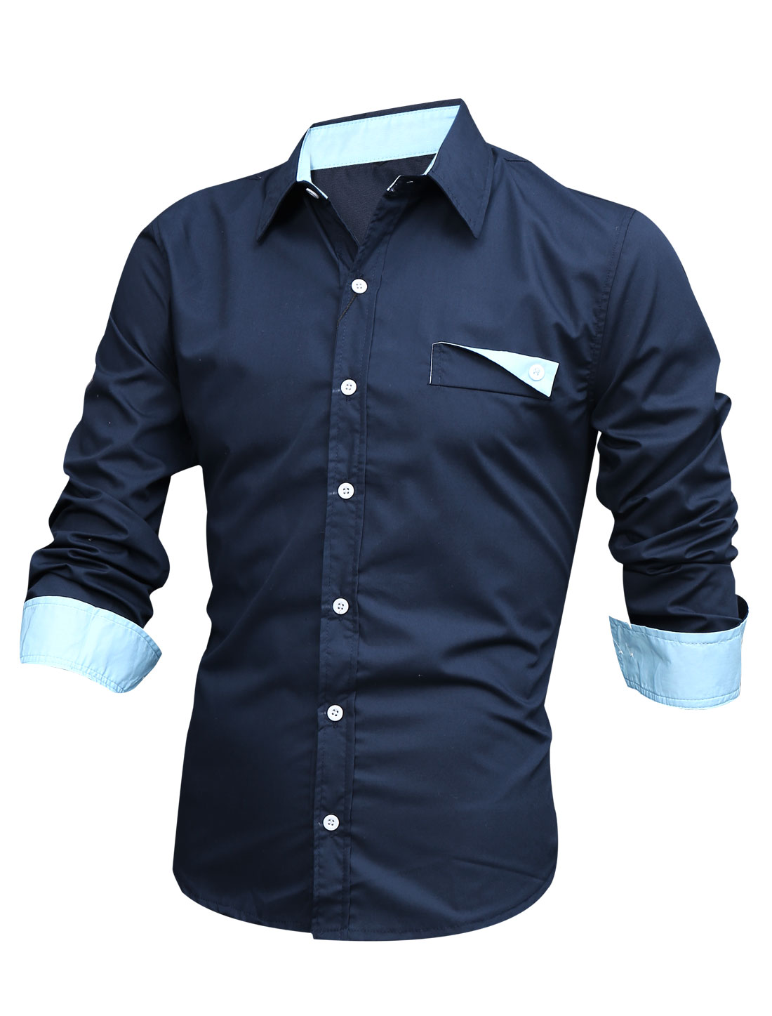Men Single Breasted Front Button Cuffs Navy Blue Casual Shirt M