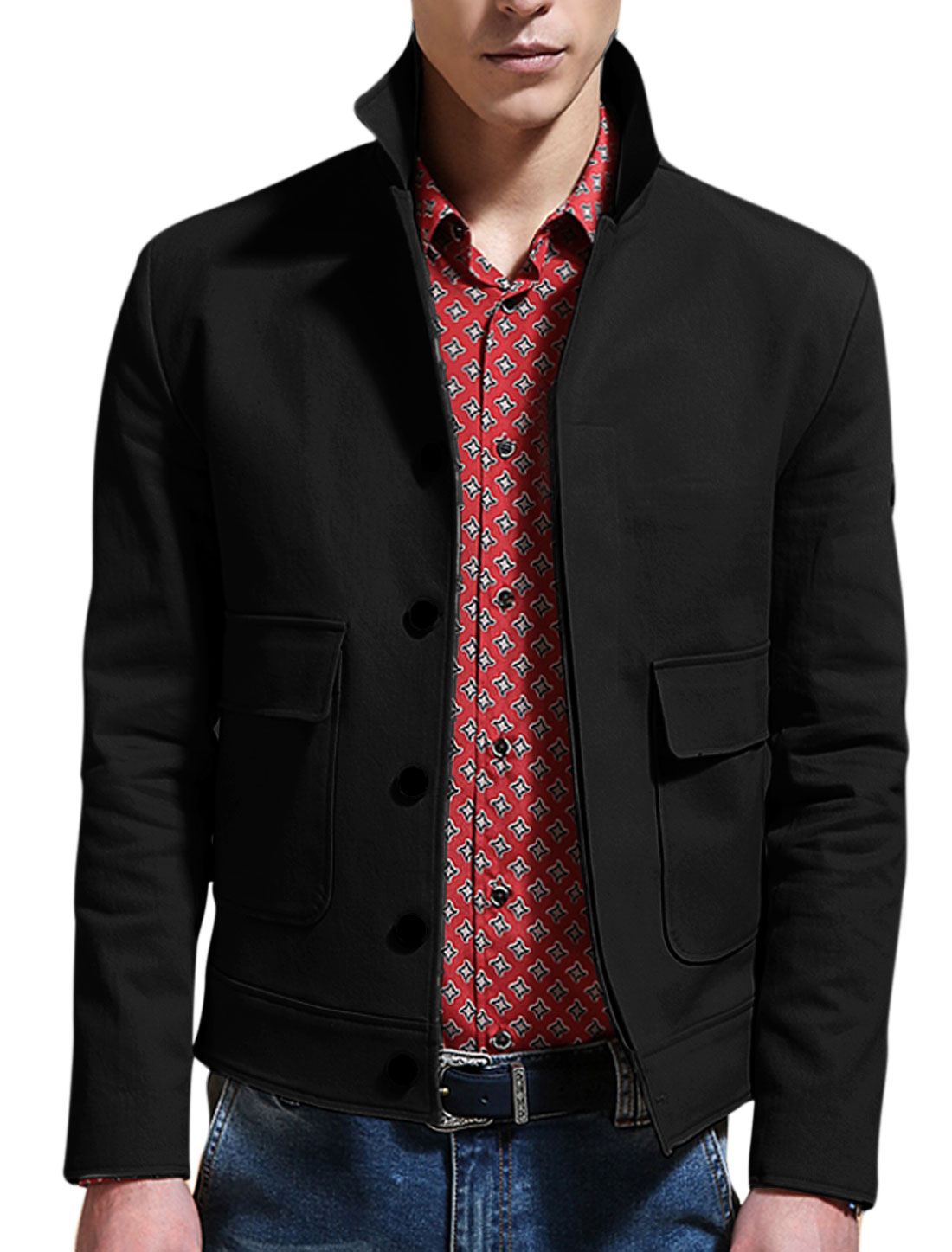 Man Black Point Collar Long Sleeves Single Breasted Casual Jacket M