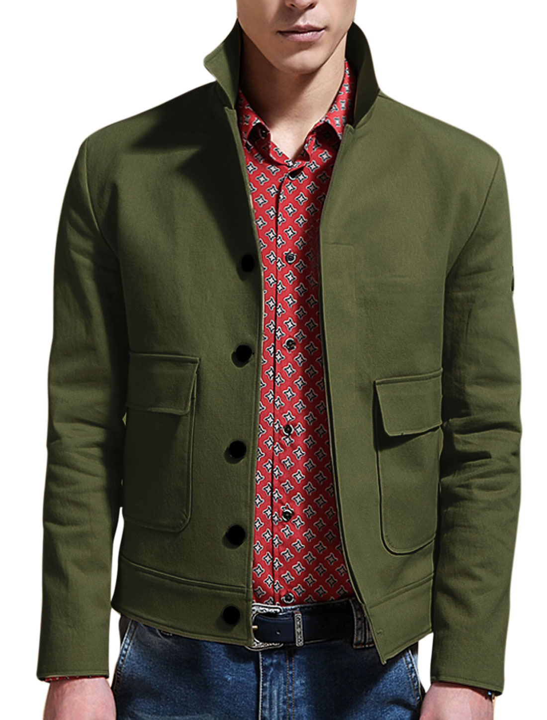 Man Army Green Point Collar Long Sleeves Single Breasted Button Down Closure Jacket M