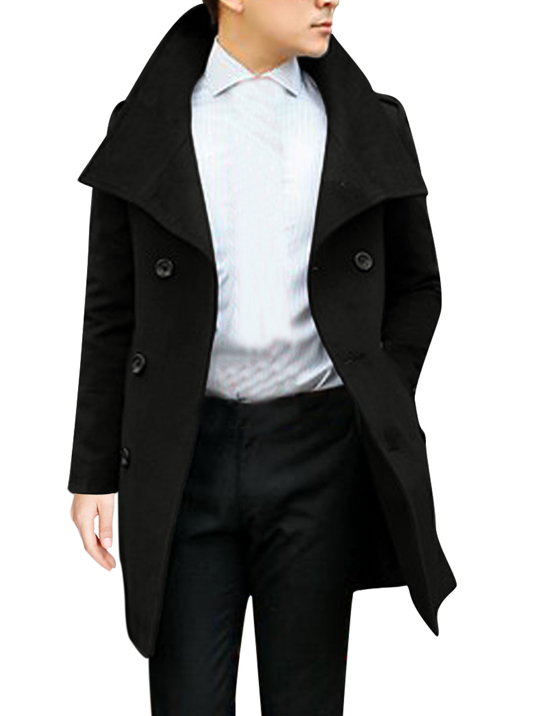 Men Button Tab Epaulets Split Side Long Sleeve Worsted Coat Black M