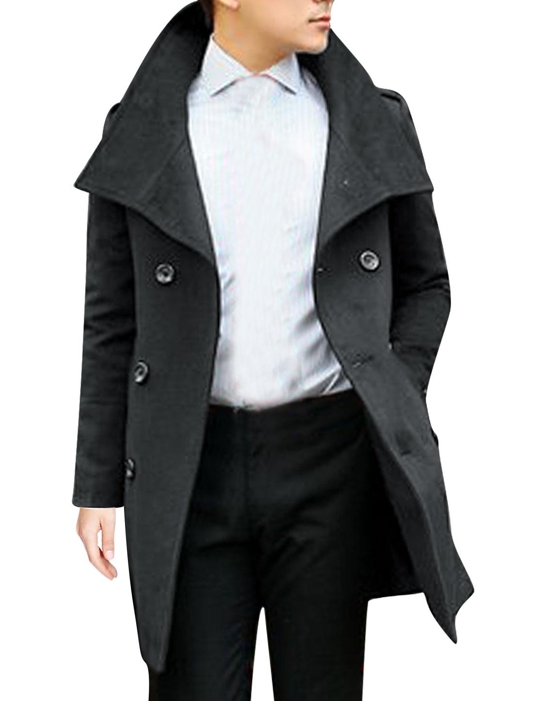 Men Button Tab Epaulets Double Pockets Split Back Worsted Coat Ebony M
