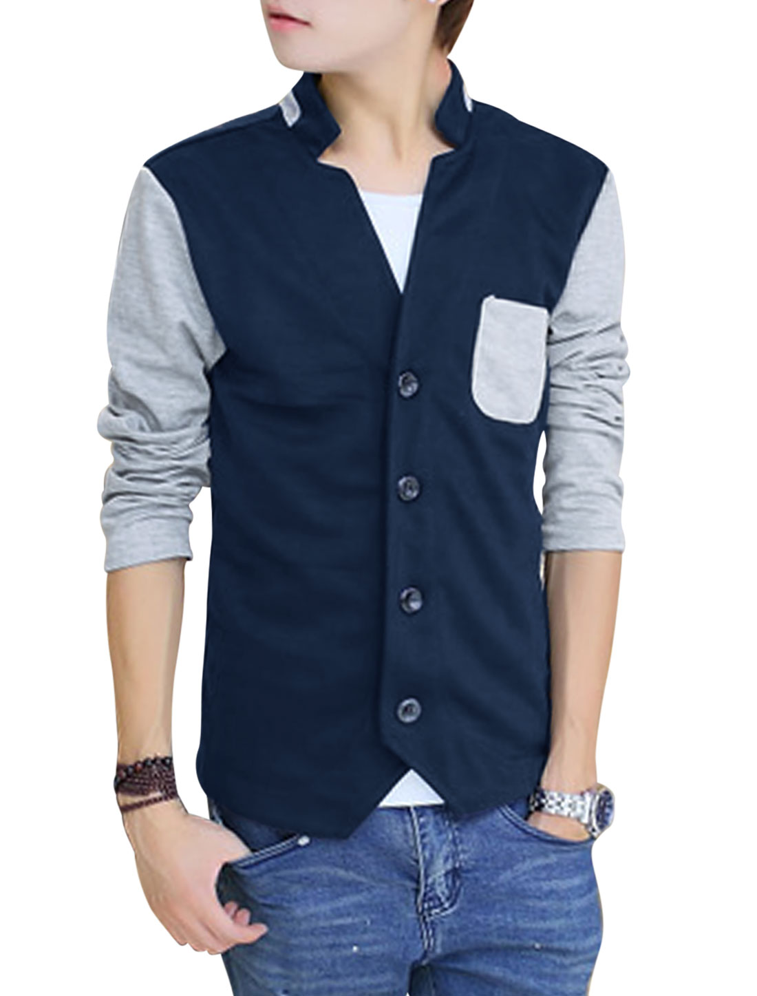 Men Button Closure Front Contrast Long Sleeves Casual Jacket Navy Blue M