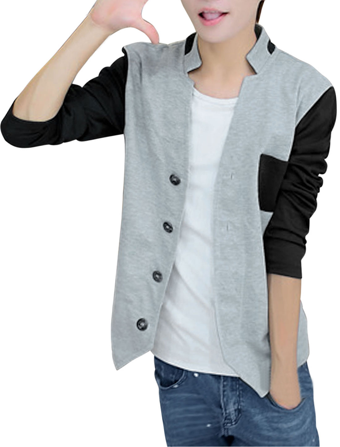 Men Panel Single Breasted Contrast Long Sleeves Casual Jacket Light Gray M