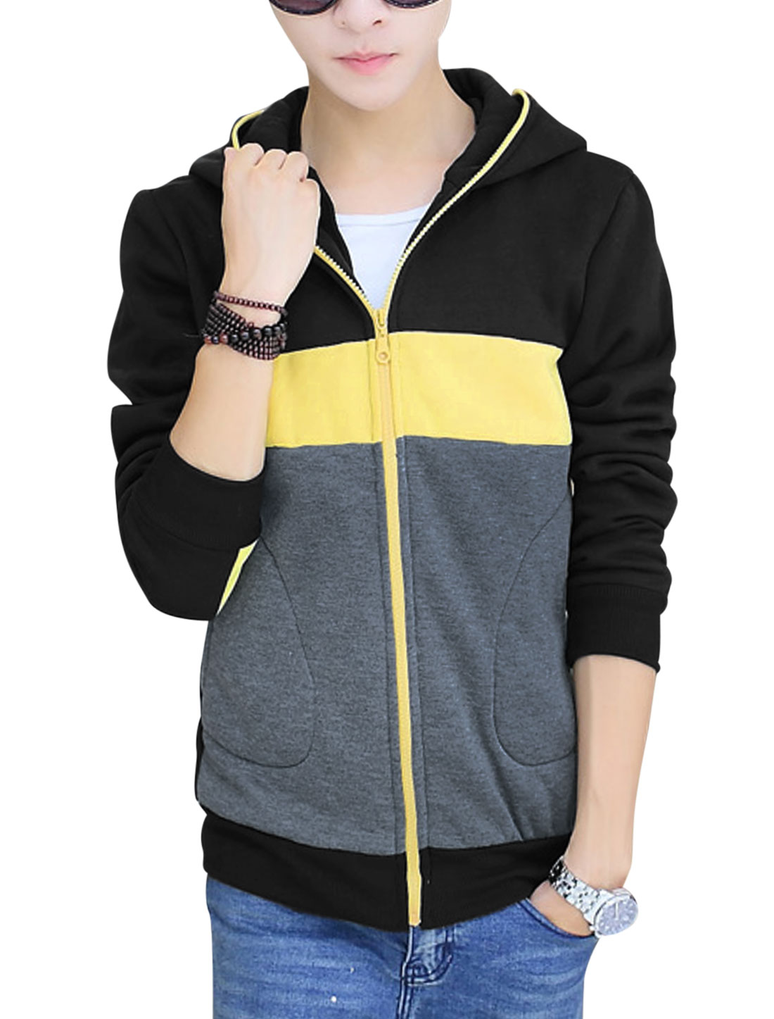 Men Color Block Hooded Two Pockets Front Casual Sweatshirt Black Dark Grey M