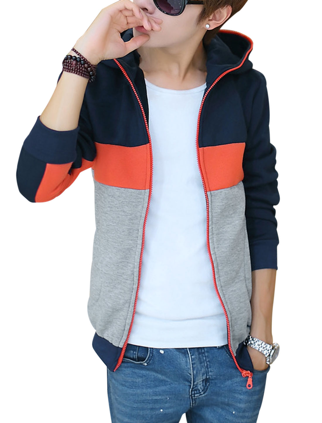 Men Contrast Color Ribbed Trim Zip Up Casual Sweatshirt Navy Blue Grey M
