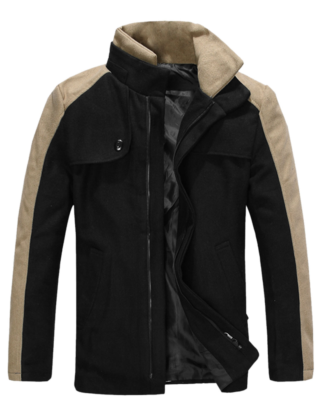 Men Layer Convertible Collar Contrast Long Sleeves Worsted Jacket Black M