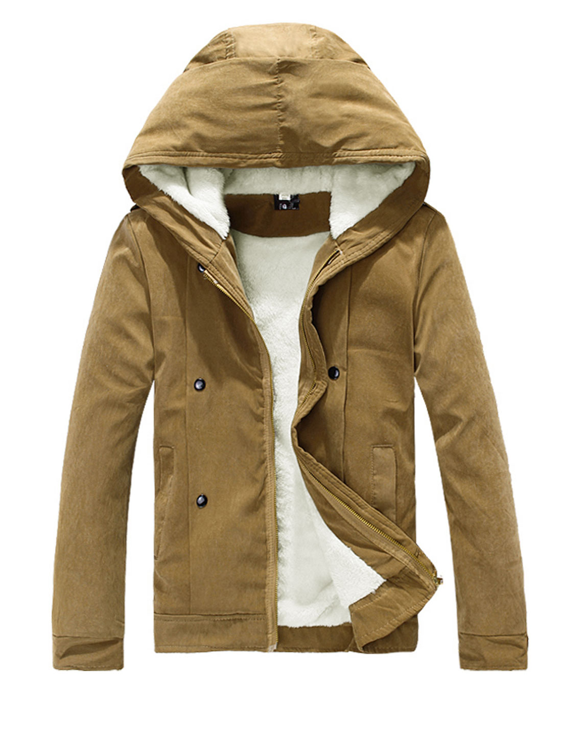 New Style Leisure Hooded Design Fleece Inside Jacket for Men Camel M