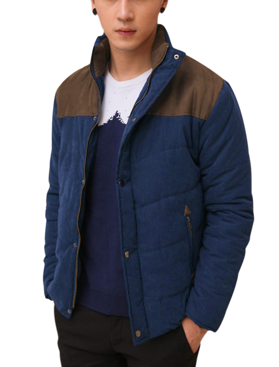 Men Convertible Collar Contrast Color Faux Suede Panel Padded Jacket Navy Blue M