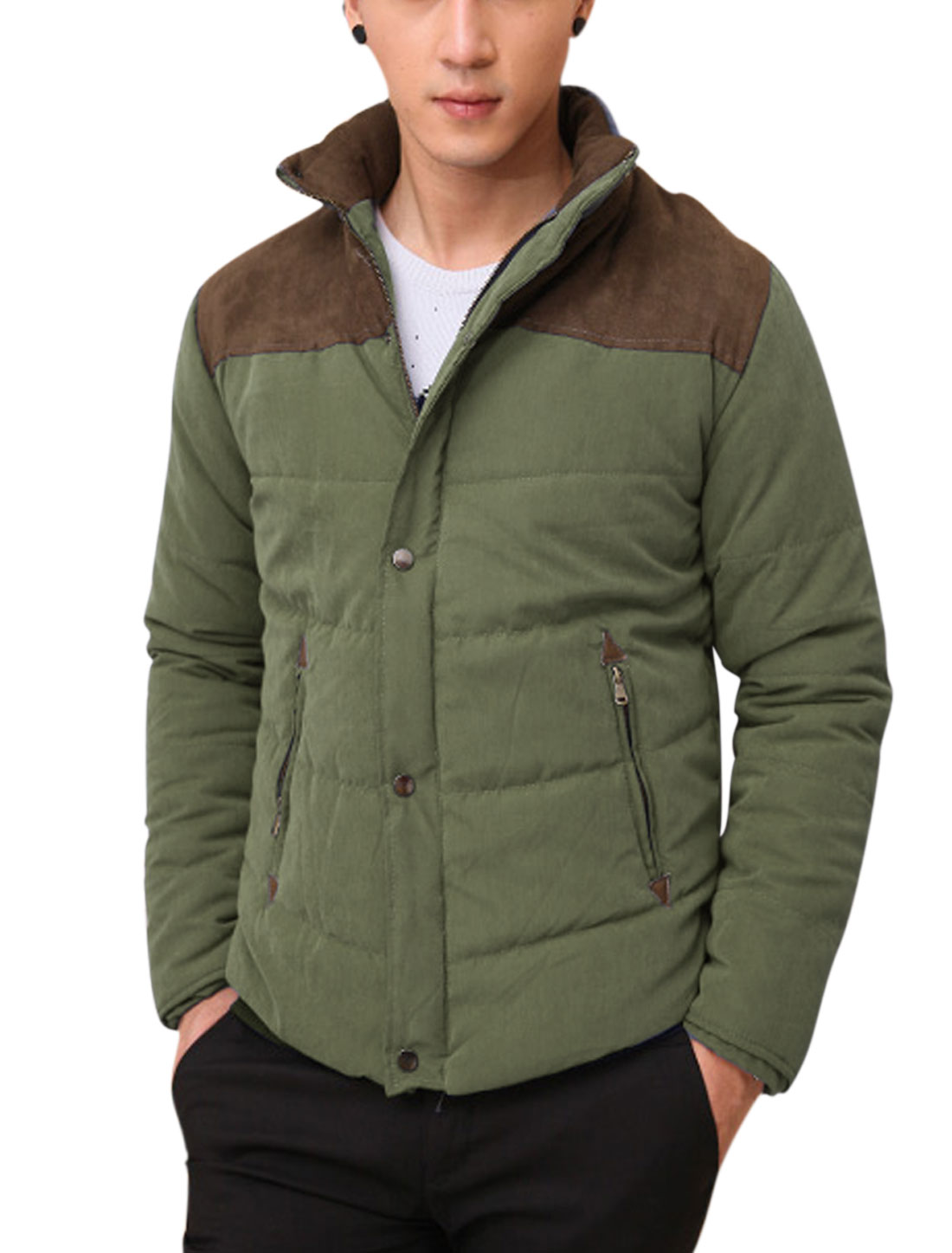 Men Full Zipper Two Tone Faux Suede Panel Padded Jacket Army Green M