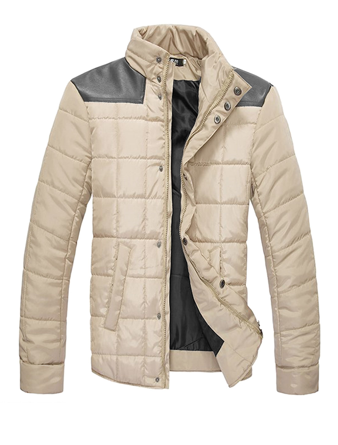 Men Imitation Leather Spliced Button Cuffs Double Pockets Front Padded Coat Beige M