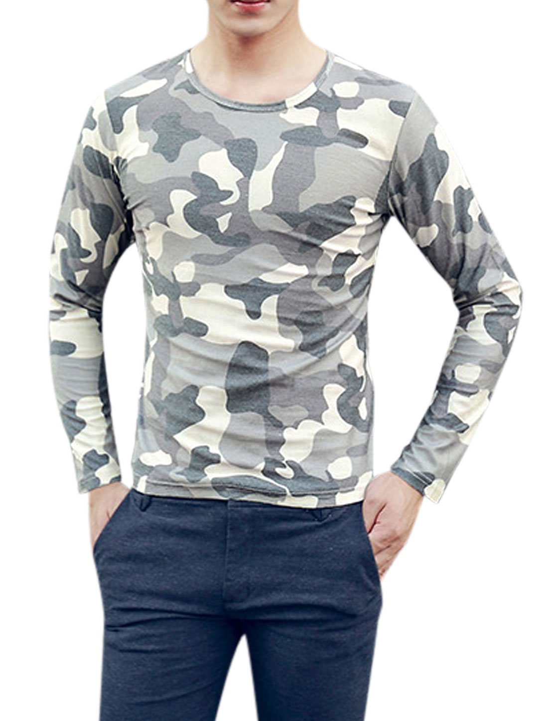 Men Long Sleeve Camouflage Pattern Casual T-Shirts Gray Cream S