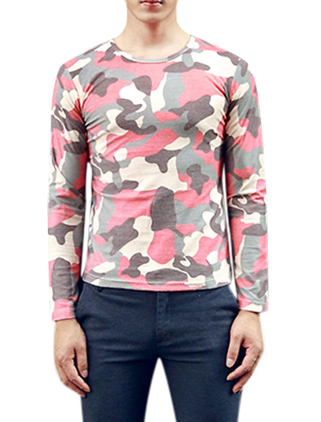 Men Round Neck Camouflage Pattern Fashion T-Shirts Fuchsia Cream S