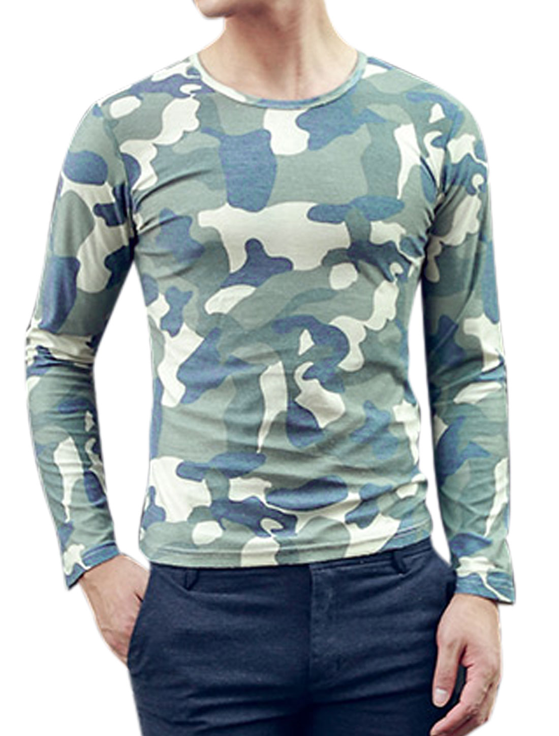 Men Camouflage Pattern Pullover Leisure T-Shirts Blue Cream S
