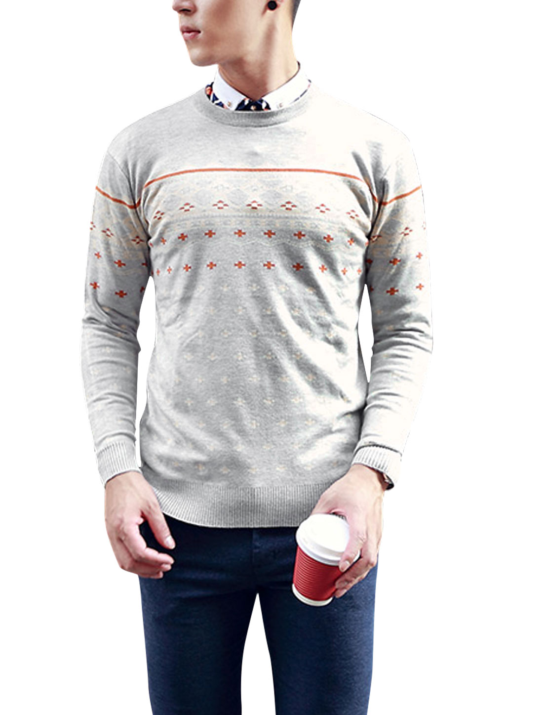 Man Zig-zag Plus Sign Pattern Long Sleeves Sweater Light Gray M