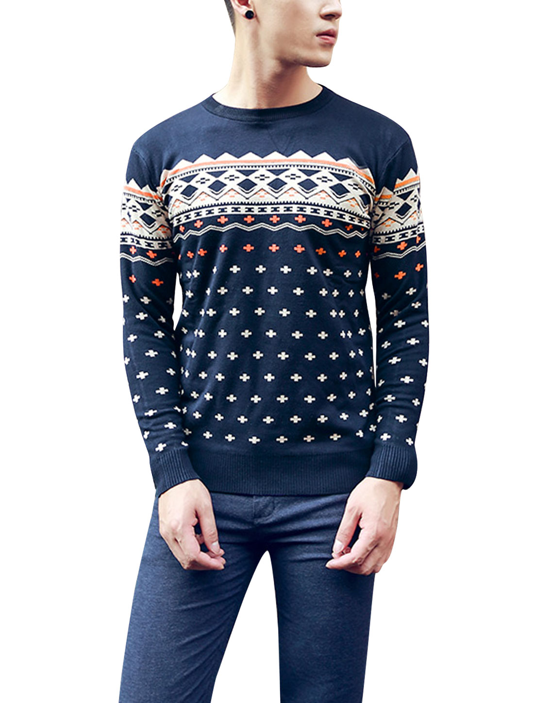 Man Plus Sign Pattern Crew Neck Pullover Navy Blue Sweater M