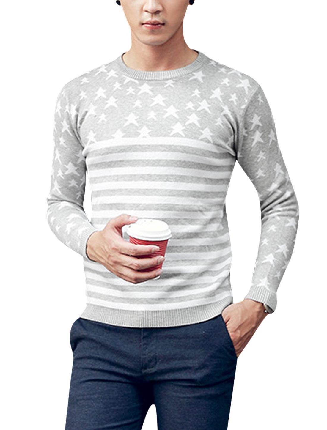 Men Stars Stripes Pattern Crew Neck Long Sleeve Knit Shirt Light Gray White S