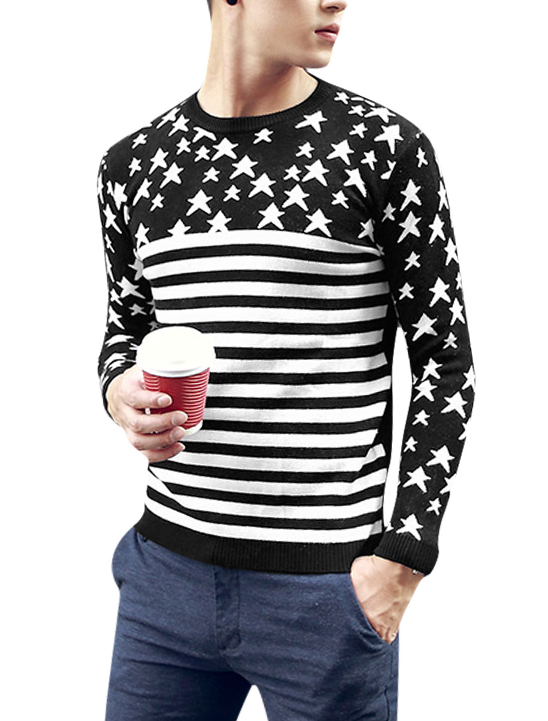 Men Stars Pattern Pullover Long Sleeve Leisure Knit Shirt Black White S