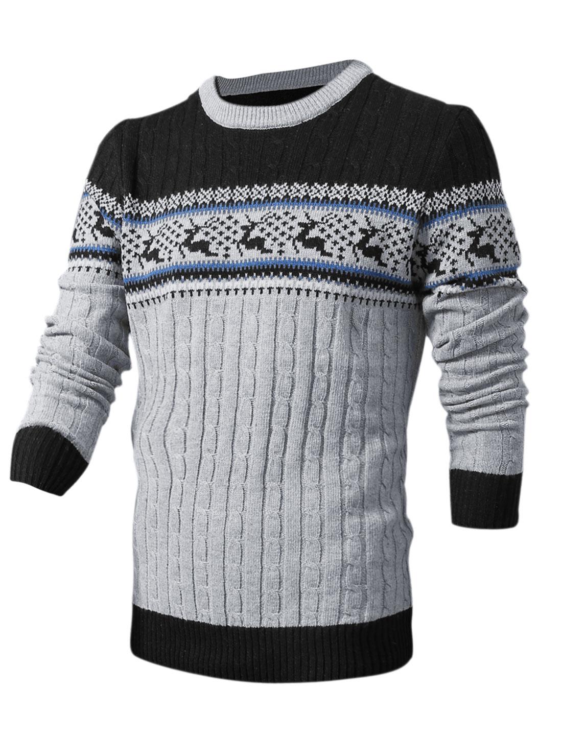 Men Deer Pattern Round Neck Long Sleeve Ribbed Hem Sweater Light Gray M