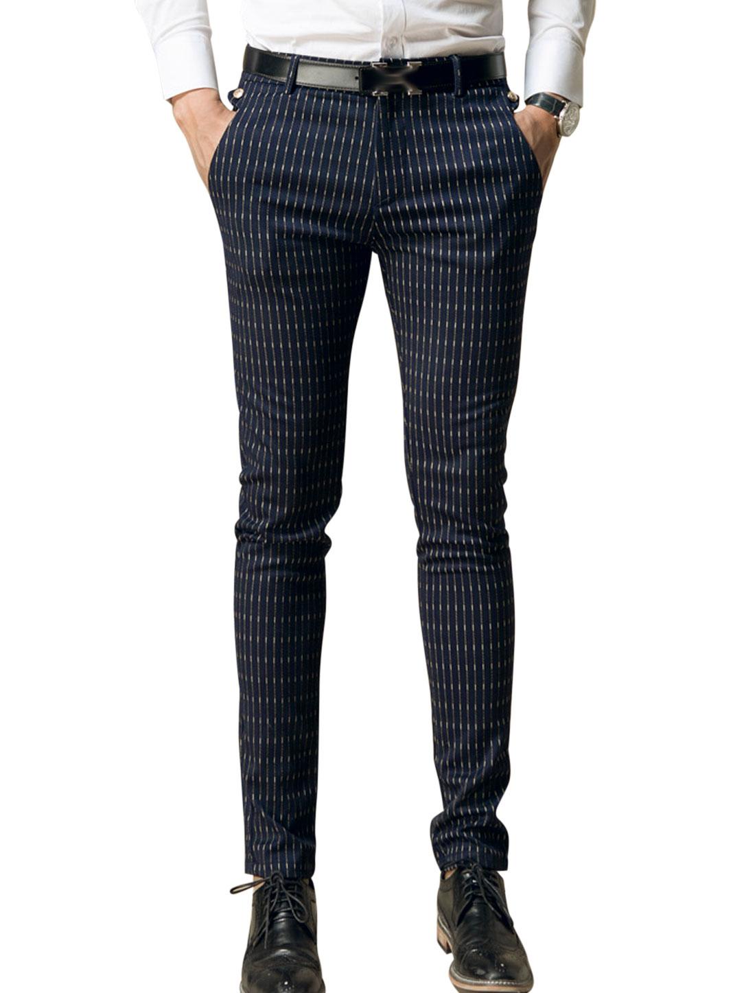 Man Navy Blue Long Stripes Zip Fly Slant Pockets Casual Pants W30