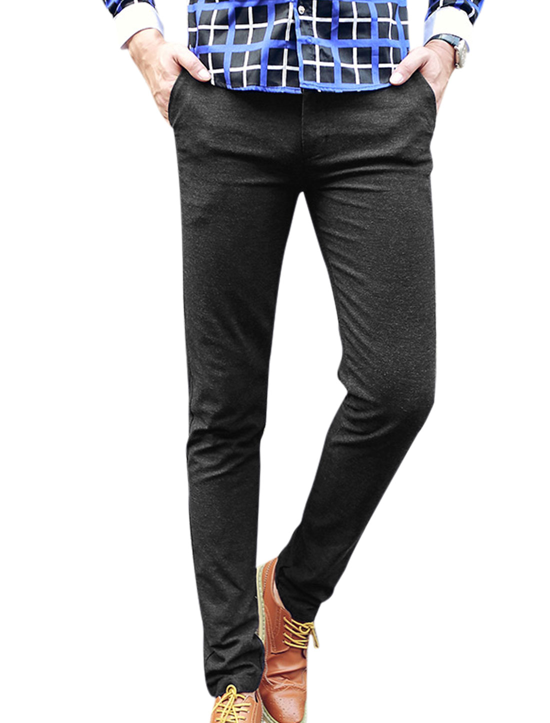 Men Double Pockets Back Zip Fly Button Closure Casual Pants Black W30