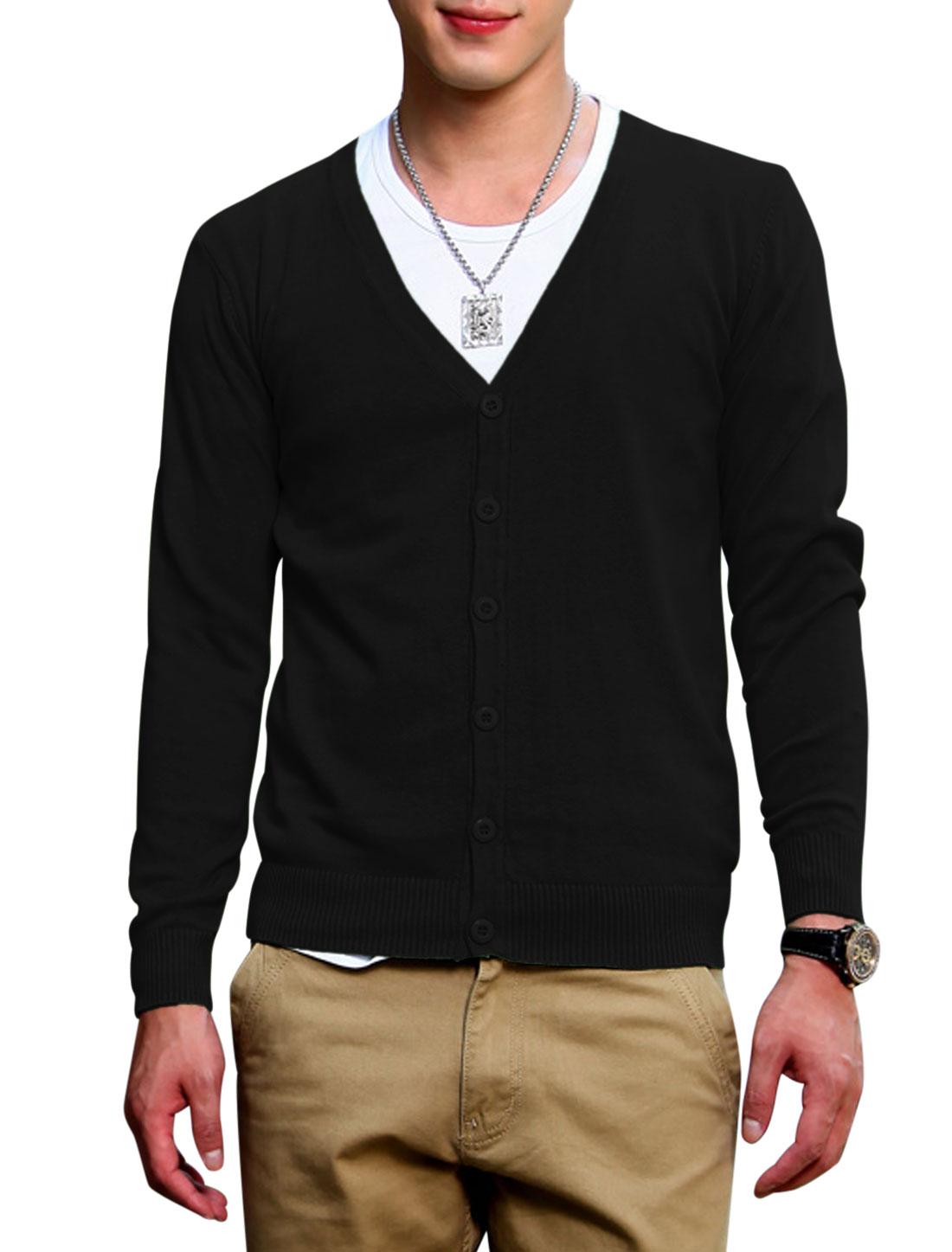 Men Long Sleeves V Neckline Button Closed Knit Cardigan Black S