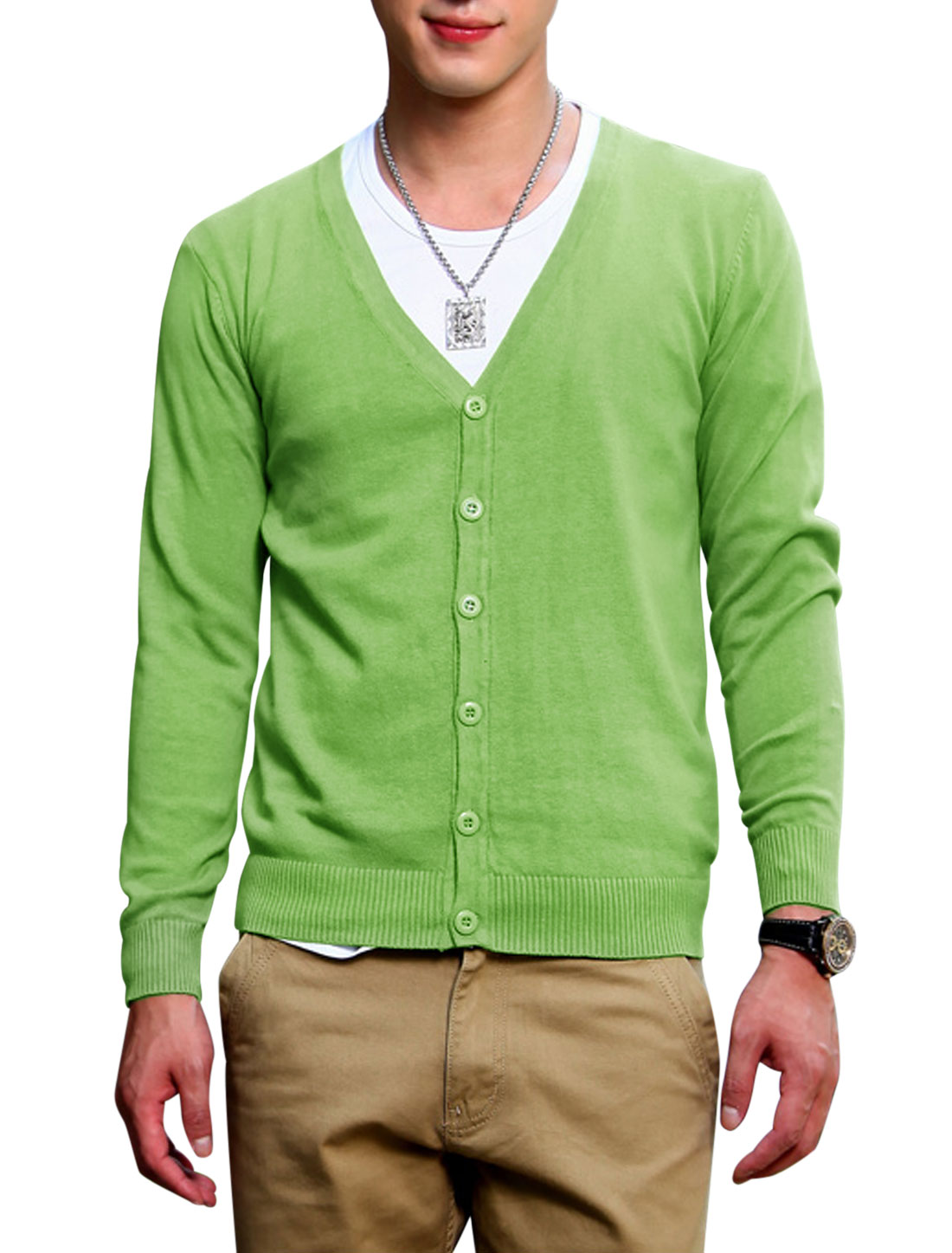 Men Single Breasted Front Long Sleeves Casual Green Knit Cardigan S
