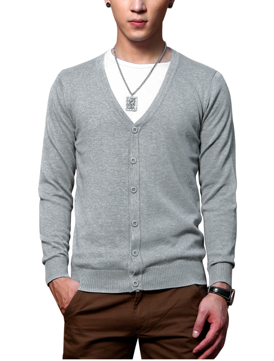 Button Closure V Neckline Stylish Light Gray Knit Cardigan for Man S