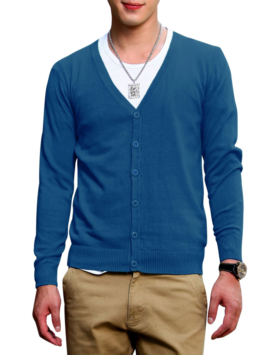 Leisure Design Long Sleeves Button Up Dark Blue Knit Cardigan for Men S