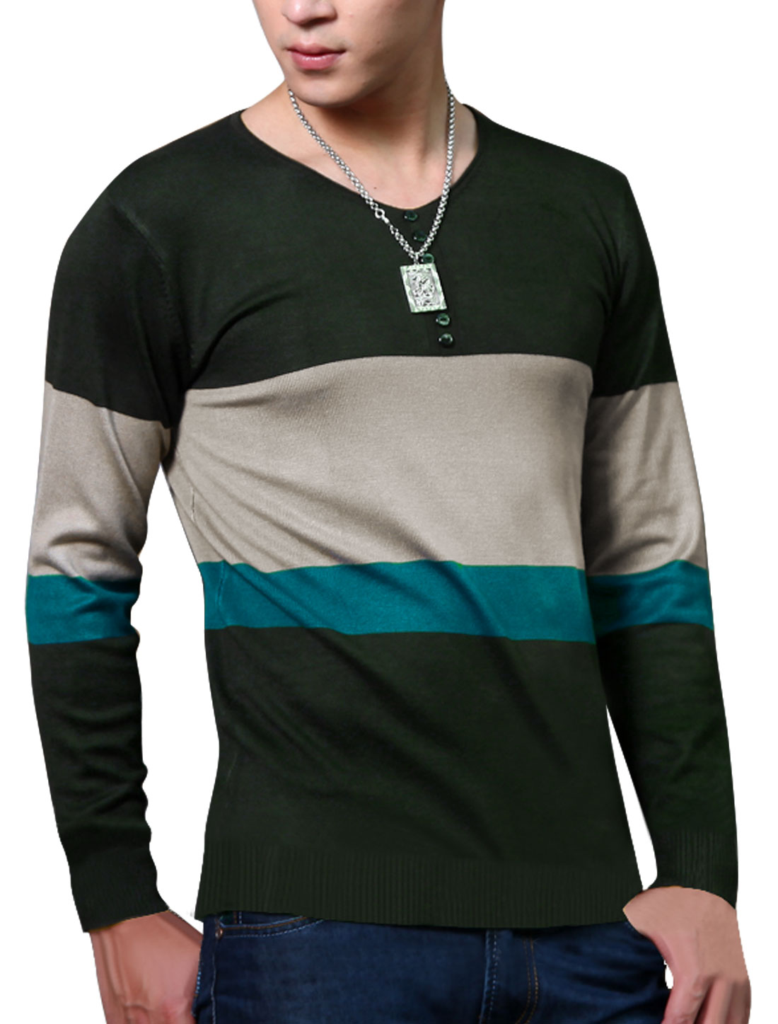 Men Long Sleeves Contrast Color V Neck Knit Shirt Dusty Green M