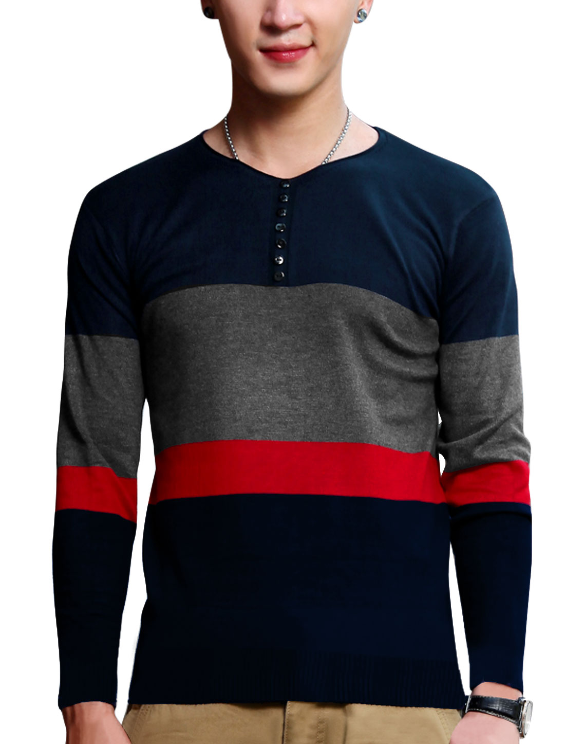 Men Button Decor Front Long Sleeves Pullover Navy Blue Knit Shirt M