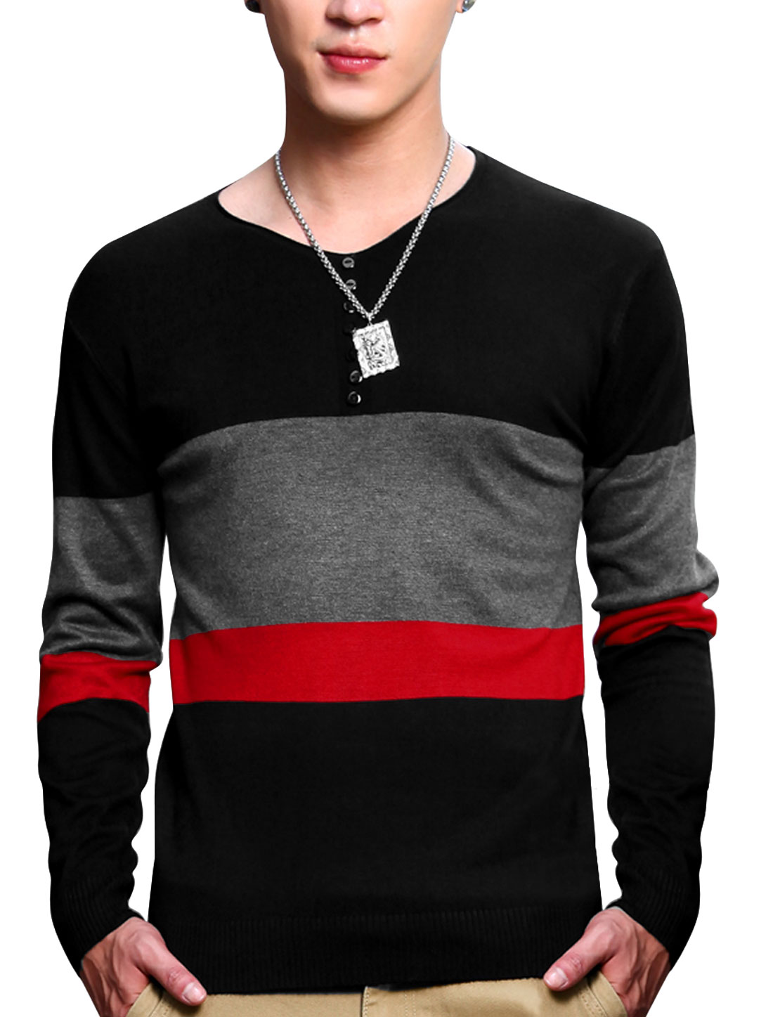 Pullover V Neck Color Block Chic Black Knit Shirt for Men M