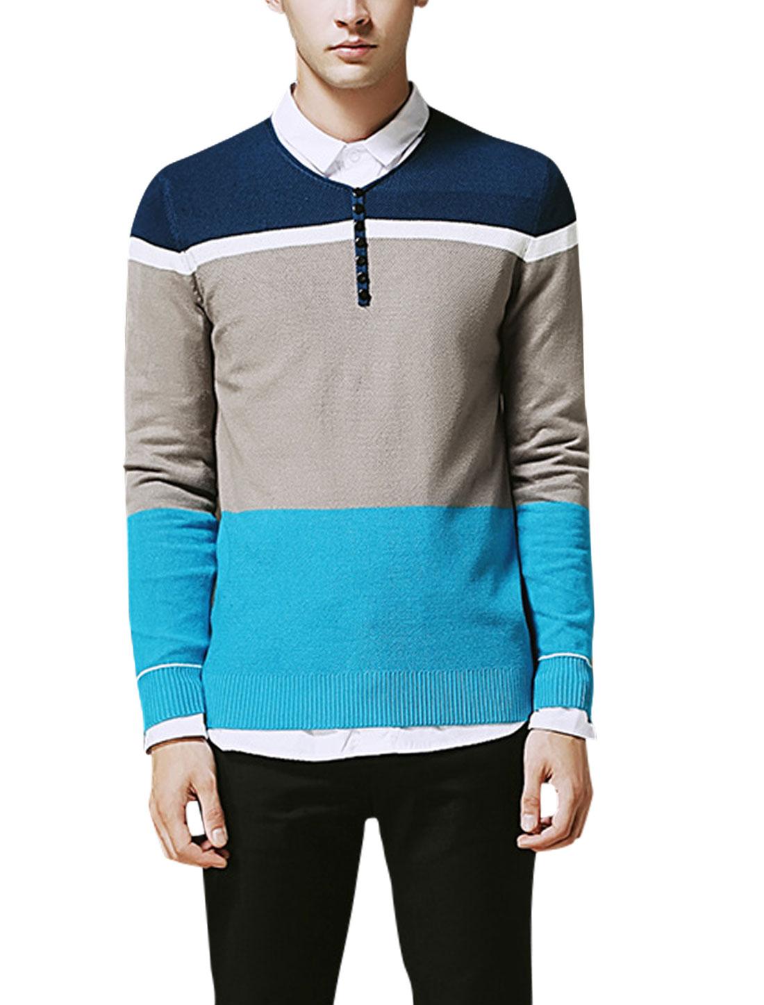 Men V Neck Long Sleeves Color Blocking Knit Shirt Blue Gray M