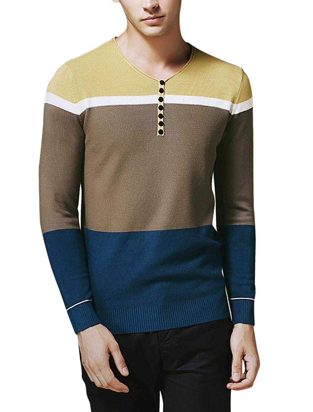 Men Contrast Color Pullover Slim Fit Knit Shirt Navy Blue Brown M